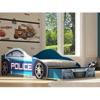 Кровать-машинка Бренд-5 Полиция New с ящиком Viorina-deko