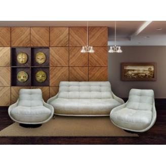 Комплект Бакарди диван и 2 кресла,кожа МКС