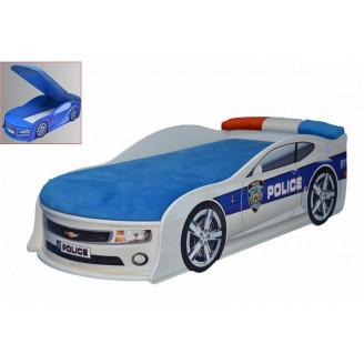 Кровать-машинка с матрасом Chevrolet Camaro Полиция с механизмом MebelKon