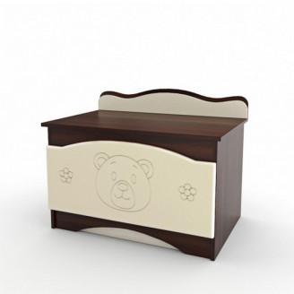 Ящик для игрушек Мишка Ваниль + орех темный Вальтер