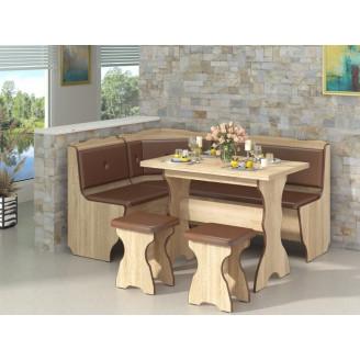 Кухонный уголок Президент с раскладным столом  +  2 табурета Пехотин