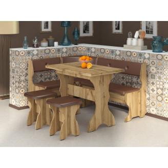 Кухонный уголок Принц с раскладным столом  +  2 табурета Пехотин